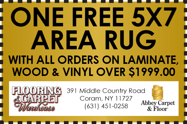 Receive Free 5x7 Area Rug with all orders on laminate, wood & vinyl over $1999.