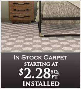 In stock carpet starting at $2.19 sq/ft installed - at Flooring & Carpet Warehouse in Coram