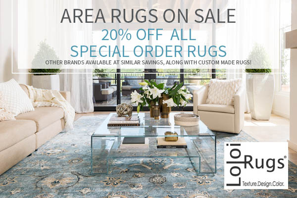 20% OFF all special order area rugs this month only!  Other brands still available at similar savings, along with custom made rugs!